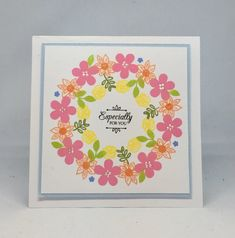 Card created using Stamp a Wreath template with Painted Florals Stamp set, made by Jo Street