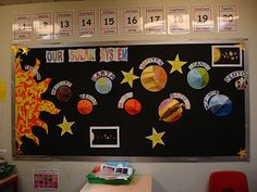 The Solar System display board in our classroom. The boys made the planets and Sun (the ones who aren& too good with pencil crayons did the cutty sticky Sun :)) We know Pluto isn& a full planet, but it fits with the mnemonics. Space Preschool, Space Activities, Solar System Crafts, Our Solar System, Solar System Projects For Kids, Solar System Model, School Displays, Classroom Displays, Space Bulletin Boards