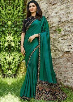 Festival Collection - Prachi Desai Green Color Embroidered Sparkle Silk  Saree