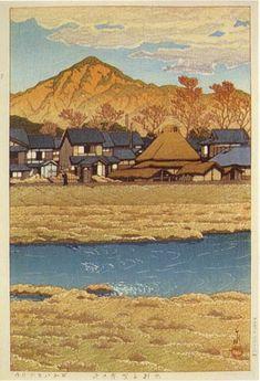 hanga gallery . . . torii gallery: Kamigamo in Winter by Kawase Hasui