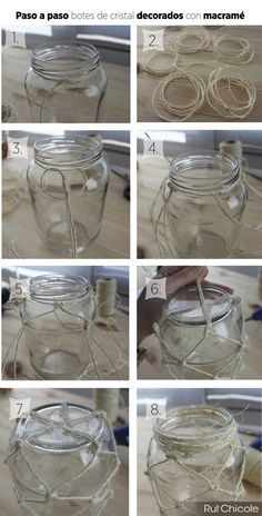 These DIY Macrame Planters Are Ideal For Total Noobs macrame planter Rope Crafts, Diy Home Crafts, Diy Crafts To Sell, Diy Home Decor, Mason Jar Crafts, Bottle Crafts, Mason Jars, Diy Para A Casa, Glass Boat