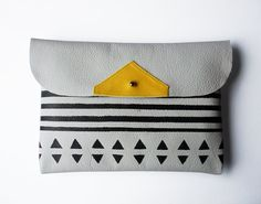 Clutch // iPad Mini Case // light grey and yellow leather with black pattern