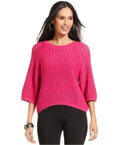 Petite Dolman-Sleeve Open-Knit High-Low Sweater