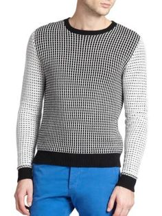 Ami Chunky Grid Cotton Sweater | Clothing