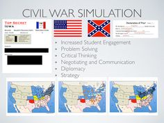 Civil War Simulation Lesson Plan-   This simulation activity starts with the election of 1860. Students take the roles of individual states and vote for the candidate that most closely matches the majority of that states political beliefs.  Students will face the same challenges and advantages both the North and South had during the Civil War.