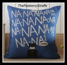 Na Na, Na Na .. It's BATMAN Fun Cartoon Drawing Cotton Linen Pillow Cover Cushion Blue Black Retro Bed Chair Sofa Geek Collectible Comics. $26.50, via Etsy.