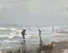 Seascape winter #1 White waves on a grey day, painting by artist Roos Schuring