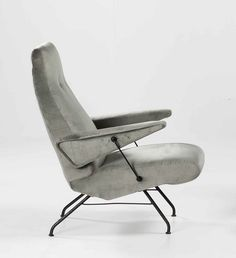 Giovanni Erba; Enameled Metal Lounge Chair, c1955.