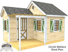 """The """"Wallace"""" shed plan features 192 ft² of usable space, as well as a porch with a pergola.  Download the plan today!"""