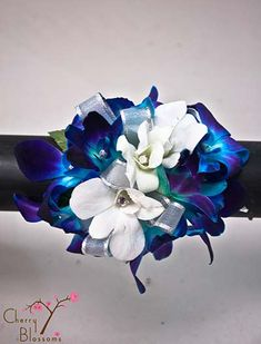 Blue and White Orchid Wrist Corsage   Cherry Blossoms Florist   Westminster, CO