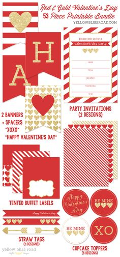 New in the shop! Red & Gold Valentine's printables pack! 53 pieces including invitations, cupcake toppers, pennant banners, water bottle labels, and tons more!