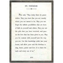 St. Therese Quote Vintage Art Print with Grey Wood Frame