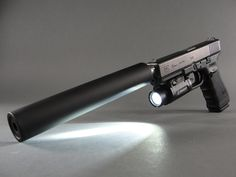 Glock 17 Gen4 9mm with AAC EVO9 sound suppressor and Insight WX-150 weapons light.