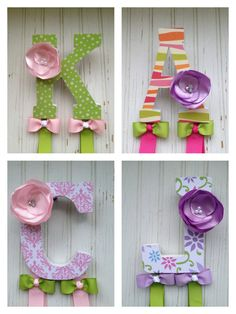 Bow Holder Headband Holder. Instead of Kenzie's M I did a flower to match her flowers holding her letters in her name. She doesn't like clips but she loves head bands and pony tail elastic holders.