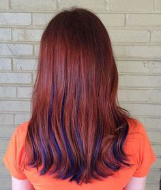 21 Trendy Hair Colors: #21. Red Hair with Blue Highlights