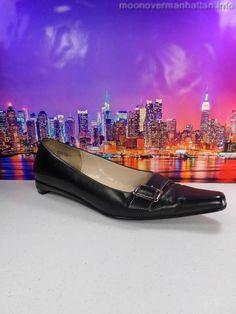 Womens shoes ANNE KLEIN Balbina Dress Black LEATHER buckle low wedges size 8 M #AnneKlein #PlatformsWedges
