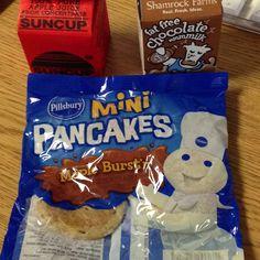 Apple juice, chocolate milk, and maple syrup infused pancakes. School Breakfast, Mini Pancakes, Childhood Obesity, Apple Juice, Pillsbury, Maple Syrup, Pop Tarts, Snack Recipes, Milk