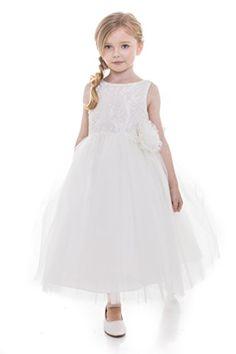0923e8a8b8d My Girl Dress INC MGD Girls USA Made Wedding Flower Girl Dress with Pearls  Tea Length