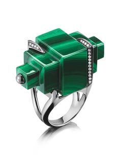 Tito Pedrini one-of-a-kind malachite ring