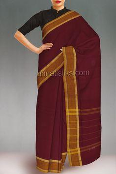 UNM9857Casual maroon pure handloom chettinadu cotton plain sari. Social Shopping India