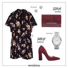 Kwiaty to jeden z trendów lansowanych na sezon jesień zima 2017/18! Sukienka w ten motyw idealnie komponuje się z bordowymi czółenkami i torebką z nowej kolekcji Wojas. Uzupełnieniem zestawu jest zegarek oraz kolczyki.