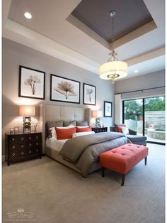 Contemporary Master Bedroom - love the layout, headboard and pictures. Don't like the colors