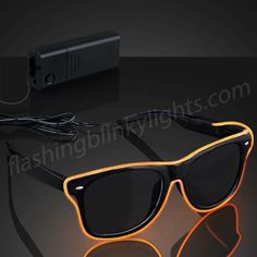 Orange EL Wire Shades Hipster Glasses - SKU NO: 11908-OR