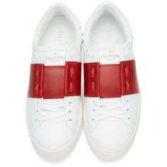 Valentino White and Red Open Sneakers (£470) ❤ liked on Polyvore featuring shoes, sneakers, white low top sneakers, lace up sneakers, white leather shoes, red sneakers and red leather shoes