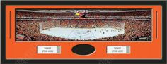 One framed large Philadelphia Flyers stadium panoramic with openings for one or two ticket stubs* and one or two 4 x 6 inch personal photos**, double matted in team colors to 39 x 13.5 in.  The lines show the bottom mat color. $179.99  @ ArtandMore.com