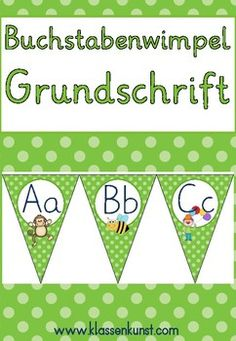 Anlaute Wimpel *GRUNDSCHRIFT* in Grün