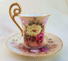 """Beautiful Limoges France Vintage 1900's Hand Painted """"Red, Pink, & Yellow Roses"""" Floral Cup & Saucer by Artist, """"A.E.P."""""""