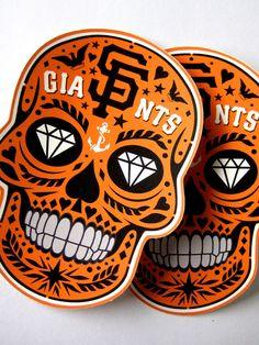 San Francisco Giants Calavera Vinyl Stickers by courtney2kdesign, $5.00