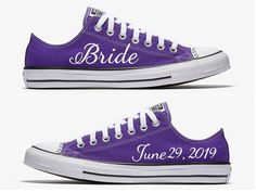 Custom Purple and White Bride Wedding Converse Hand Painted by SweetAndColorful on Etsy Purple Wedding Decorations, Purple Wedding Shoes, Red Wedding, Wedding Bride, Wedding Ideas, Wedding Stuff, Wedding Colors, Purple Themed Weddings, Wedding Dresses