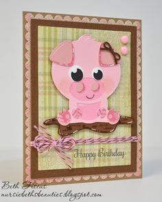 Beth's Beauties: Pig Birthday Card using svg from Miss Kate Cuttables, dies from Gina Marie Designs and Chocolate Cupcake Trendy Twine