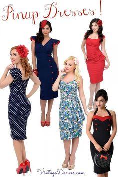 Vintage style pinup dresses! Find these at VintageDancer.com and Unique-Vintage.com