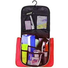 kilofly Hanging Toiletry Travel Bag, Red by kilofly Home. $13.06. U-shaped zipper opening allows you to see everything inside the bag clearly at a glance. Multiple elastic edged mesh pockets for storing toiletries, cosmetics, etc. A hook allows you to hang the bag conveniently on a towel rack or door. Size when closed: 29 x 22 x 12 cm / 11.6 x 8.8 x 4.8 inch (L x H x W). Made of waterproof material. kilofly Hanging Toiletry Travel Bag is great for travel and gives you an easy w...