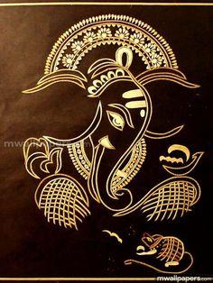 Sri Ganesha Om Gam Ganapataye Namaha Namasté Lord Ganesh More Más Ganesha Drawing, Lord Ganesha Paintings, Indian Gods, Indian Art, Arte Ganesha, Sri Ganesh, Mandala, Madhubani Painting, Hindu Art