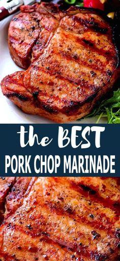 Easy Pork Chop Recipes, Grilling Recipes, Pork Recipes, Pork Marinade Recipes, Pork Recipe Grill, Grilled Porkchops Recipes, Pork Steak Marinades, Iowa Chops Recipe, Chicken Chop Recipe