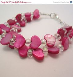 ON SALE Pink Hearts Bracelet Valentine's Day by LizzysFancies