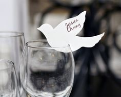Paint My Love wine glass dove placecards set of by thebridegene Wedding Places, Our Wedding, Wedding Ideas, Event Logo, Paper Birds, Wedding Decorations, Table Decorations, Table Cards, Party Time