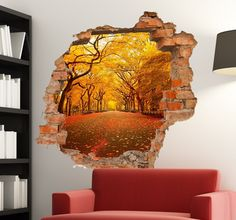 A creative wall sticker of a hole in the wall with a beautiful Autumn scene inside. Great for creating a fun 3-D effect on your walls. Detailed photograph of a park with the orange, yellow and brown colours of Autmn time. #Photography #Home #Decoration