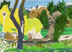 Yellow trees by the pond- original watercolor painting