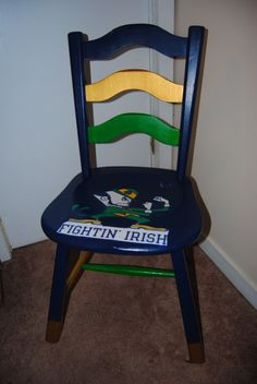 Notre Dame College Football Chair made with Mod Podge