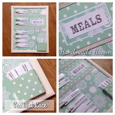 'Sea Mist Lace' Meal Planner $50 + postage or pick up Springfield Lakes. Visit my FB page 'Handmaid's Haven' for more info or to place an order.
