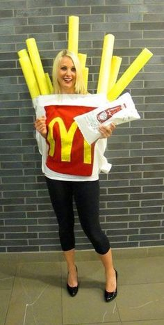 Dress up as McDonald's French Fries with this funny DIY Halloween costume idea.