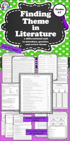 Finding Theme in Literature is a 70-page, differentiated unit. Use throughout the year to allow repeated exposure to finding and proving a theme in independent reading. Includes 12- fables to introduce and teach theme, a list of themes, methods for and practice with finding theme in literature, differentiated SBAC-type assessments, and text evidence proof frames for writing about theme.