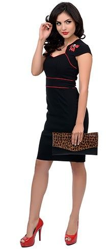 Hell Bunny Black & Red Cap Sleeve Skull & Bow Viktoria Wiggle Dress