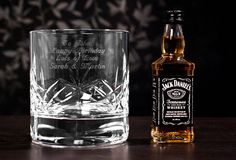 Engraved Crystal Tumbler and Jack Daniels