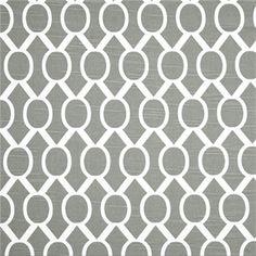 This is a gray and white geometric design cotton slub drapery fabric print by…