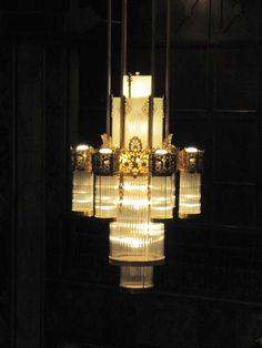 Chandelier, Hotel Phillips, Kansas City, Missouri by Jim Good Super early chandelier. Art Deco Chandelier, Art Deco Lamps, Chandelier Lighting, Chandelier Ideas, Crystal Chandeliers, Antique Lighting, Antique Lamps, Modern Art Deco, Light Crafts
